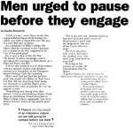 Men urged to pause as they engage pt1 - Gisborne Herald