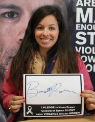 Bernadette and Intern at Women's Refuge signs The Pledge cropped