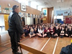 Eru speaking to students from John Paul II high school and St Patricks primary school in Greymouth