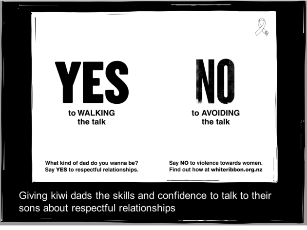 Fathers don't talk to their sons about respectful behaviour to women During interviews with men last year White Ribbon  learnt that fathers were uncomfortable talking to their sons about respectful sexual relationships.  Recent researched confirmed : •Kiwi dads said they least 'regularly' discuss the importance of consent and knowing when it is OK or not OK to engage in sexual activity with someone with their teenage sons. 22% said they regularly discuss this, compared with 66% who regularly discussed 'doing well at school'. •Dads with a teenage daughter were twice as likely to 'regularly' discuss the importance of consent and knowing when it is OK or not OK to engage in sexual activity with someone with their daughter than their teenage son.  •Compared with other topics, this was the one that fathers were least comfortable discussing.  Kids want to learn how about sexual relationships and if dads don't talk to their sons they'll learn from peers, media and pornography. Pornography typically shows aggression against women and it intensifies sexist and violence-supportive attitudes and behaviours, as well as increasing sexually aggressive behaviour. Fathers need to counter this with positive talk about consent and showing respect.  White Ribbon wants to give kiwi dads the confidence and skills to talk about respectful relationships and respectful sexual relationships with their sons, so we've created a toolbox for dads and five short videos that focus on the top five tips.  Five top actions for fathers: 1.Role model respectful behaviour. Show you respect your partner as an equal and communicate respectfully. 2.Be actively involved in raising your kids. This makes them better people and makes you a better person too.   3.Start developing their respectful behaviour early and adjust to their development.  4.Talk about respect as a behaviour. Describe what they can do to show respect.  5.Know they'll appreciate learning from you. Kids typically want more sex education th