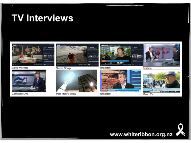 An example of some of the White Ribbon coverage on TV around White Ribbon Day in 2014.